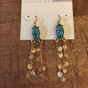 NEW Nordstrom's Costume Turquoise Wire Earrings